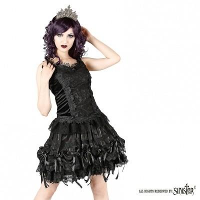 Foto van Minirok Alice, zwart satijn met kant, strikjes en roosjes