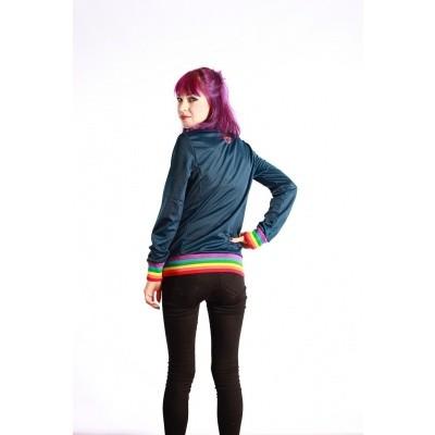 Foto van Sportjas Anne Vos, blauw met regenboog boorden