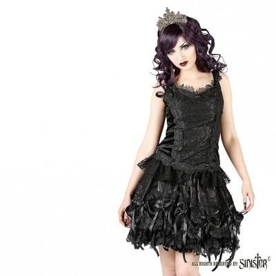 Minirok Alice, zwart satijn met kant, strikjes en roosjes