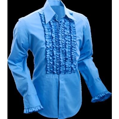 Foto van Overhemd ruche mid-blue dark blue trim
