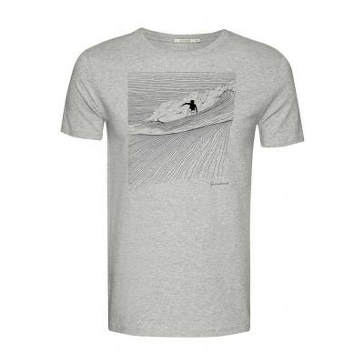 Foto van Green Bomb | T-shirt Nature Surfer, heather grey bio katoen