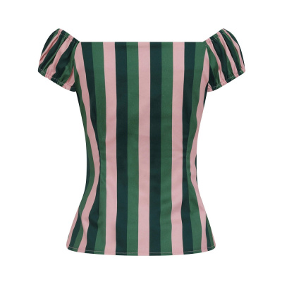 Foto van Collectif | Top Dolores Palm Stripe roze groen