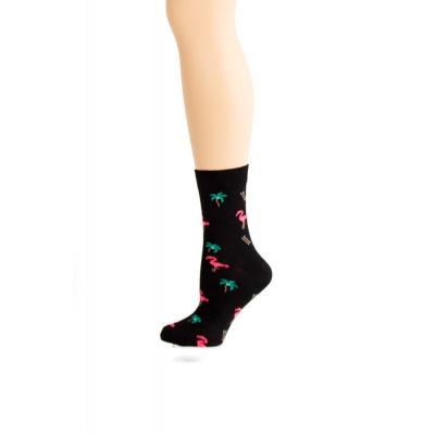 Flirt | Zwarte sokken met flamingo's en palmbomen