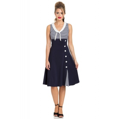 Jurk Vera, nautical flared sailor navy wit gestreept
