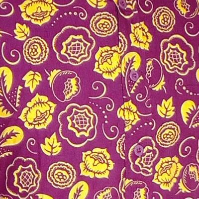 Foto van Overhemd Outline flowers violet geel