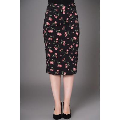 Foto van Kokerrok Natasha, zwart met roze rode tulpen print