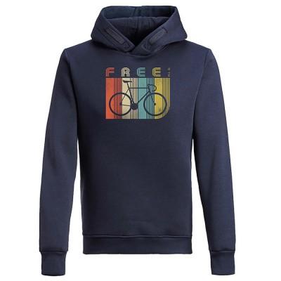 Hoodie sweater Bike retro stripes, bio katoen navy