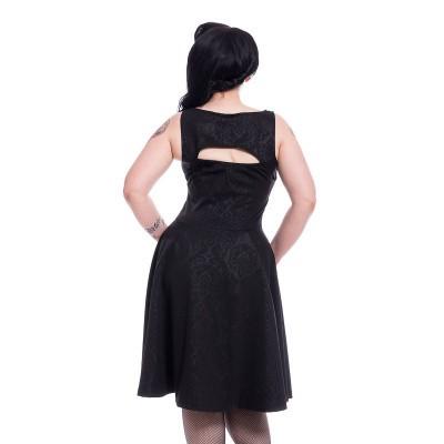 Foto van Jurk Adina, met cut-out en corsetdetail, zwart met rozen