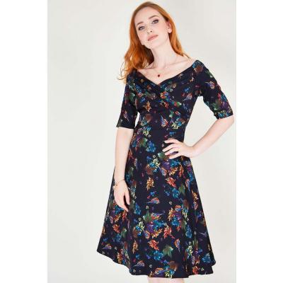 Voodoo Vixen | Zwarte flared jurk Grace Bardot met kleurrijke bloemen