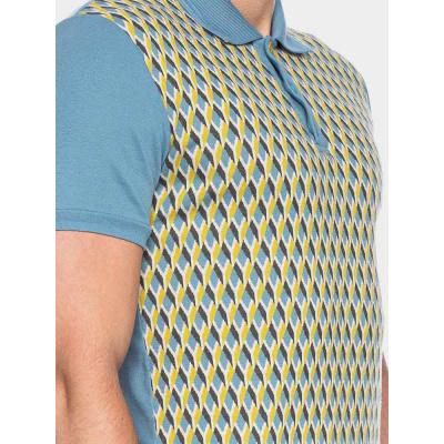 Foto van ATO Berlin | Polo Enzio jacquard patroon, helder blauw geel bio katoen