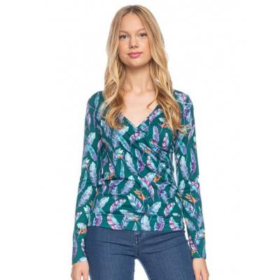 Foto van Ato Berlin, overslag shirt Emma veren paradijsvogel bloem print