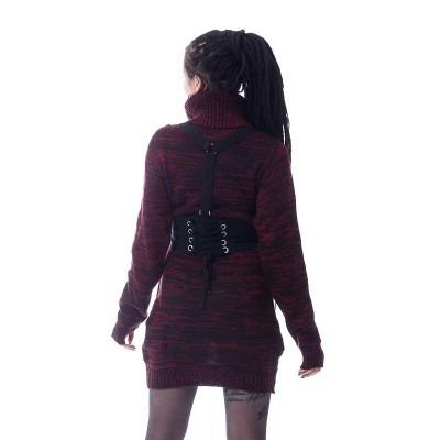 Foto van Trui Vain, zwart rood, met banden en gespen