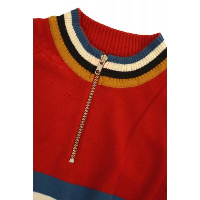 Foto van Fietstrui met gekleurde strepen en polo ritssluiting, rood