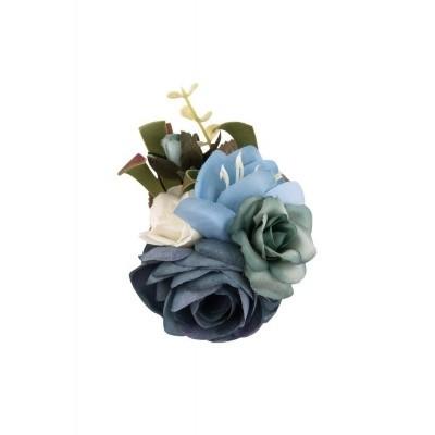 Foto van Haarclip/broche, met blauwe bloemen