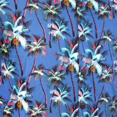 Foto van Overhemd korte mouw, Palmen blauw