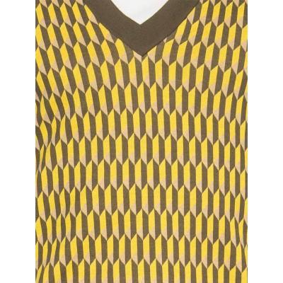 Foto van Ato Berlin, bio katoen spencer Falk grafisch patroon olijf en geel