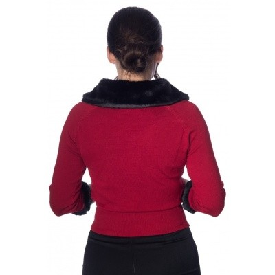 Foto van Cardigan Sapphire, rood met zwarte imitatie bont kraag en manchetten