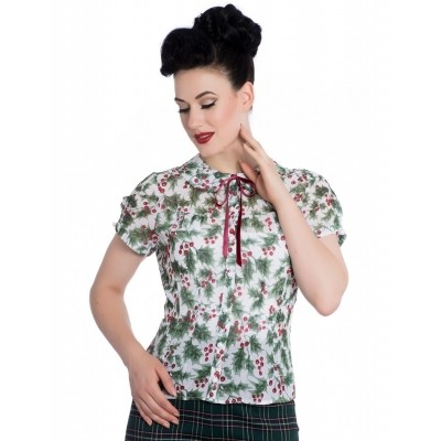 Blouse Holly Berry print