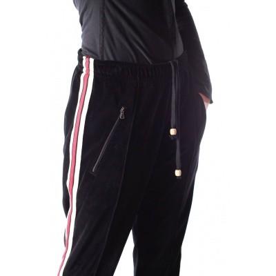 Foto van Jogging broek retro, Runner zwart fluweel rood wit gestreept