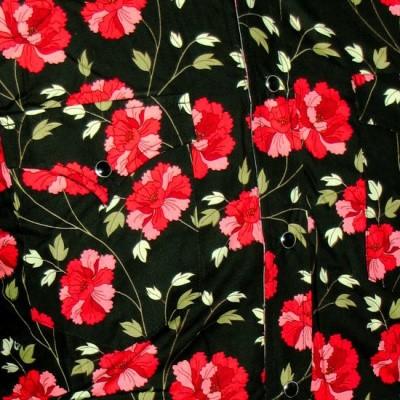 Foto van Overhemd Cowboy flowers zwart rood roze