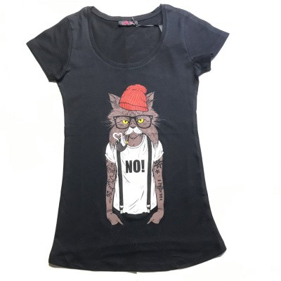 Foto van T-shirt Red hat cat, zwart
