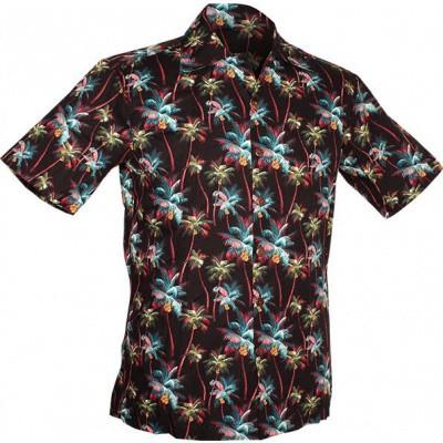 Foto van Chenaski | Overhemd korte mouw, Palm Trees, zwart