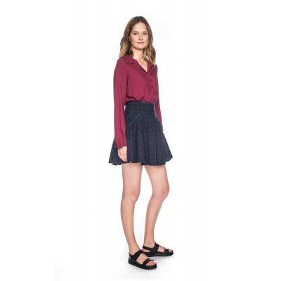Foto van Rok Marta, blauw bruin geruit, lang en kort model