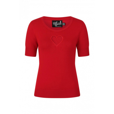 Foto van Hell Bunny | Rode top Heart met cut out hartjes detail