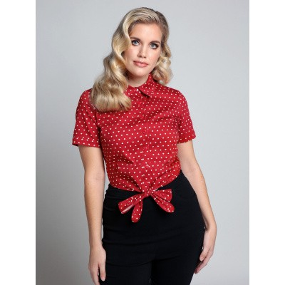 Collectif, blouse Sammy love hearts, rood