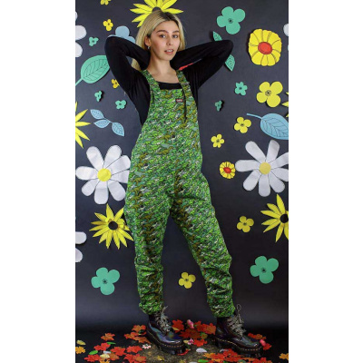 Foto van Run & Fly   Groene tuinbroek met camouflage dino print, unisex