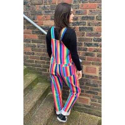 Foto van Run & Fly | Tuinbroek Bright stripe rainbow twill, regenboog