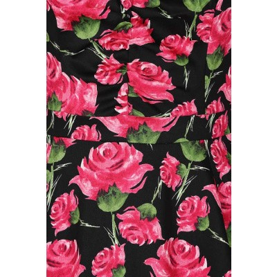 Foto van Jurk English rose, zwarte met grote roze rozen