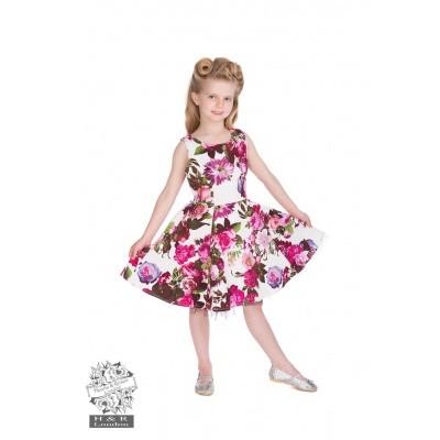 Foto van Kinderjurk, Audrey 50s cream floral swing