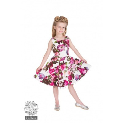 Kinderjurk, Audrey 50s cream floral swing