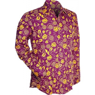 Overhemd seventies, outline flowers violet geel