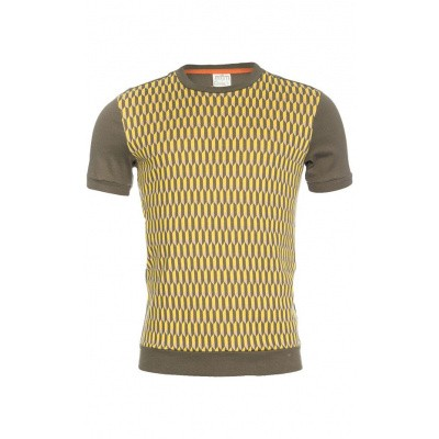 Foto van Ato Berlin, T-shirt Birk met olijf en geel grafisch retro patroon, biokatoen
