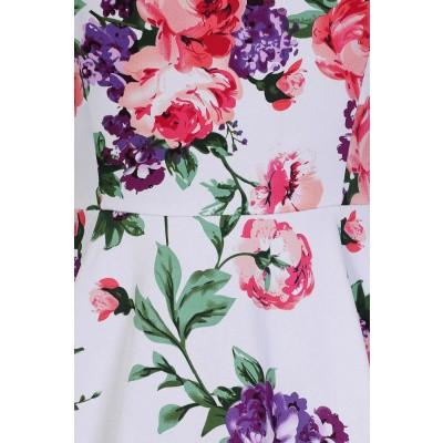 Foto van Jurk Molly, met roze en paarse rozen op wit