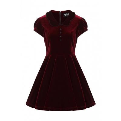 Foto van Hell Bunny | Bordeaux velvet jurk Blaise met pofmouwen