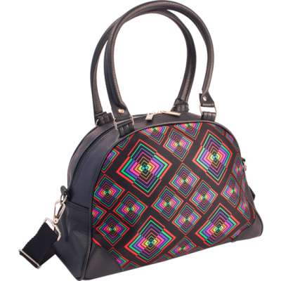 Foto van Handtas bowlingbag model, Rhombus zwart met kleurtjes