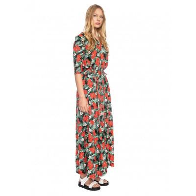 Foto van Ato Berlin, lange jurk Gwen met tropische bloem print