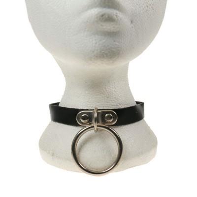 Foto van Bullet69 - Choker van zwart leer met metalen O-ring