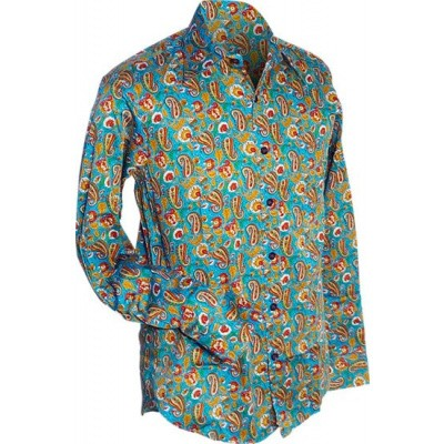 Foto van Overhemd retro, Paisley en bloemen turquoise