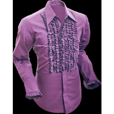 Overhemd ruche aubergine dark grey