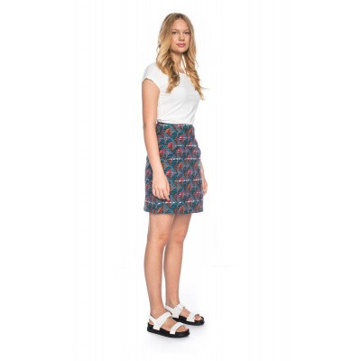 Foto van Rok Hilly, high waisted, jacquard patroon, turquoise
