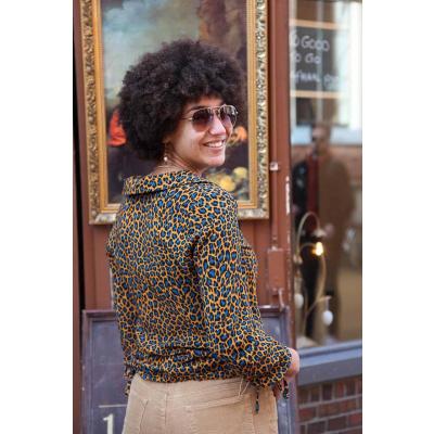 Foto van ATO Berlin | Blouse Liana, leopard print bruin blauw