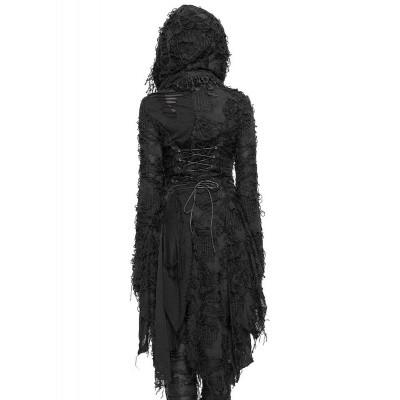 Foto van Cardigan Khaleesi, met stroken, wijde mouwen, capuchon en korsetdetails