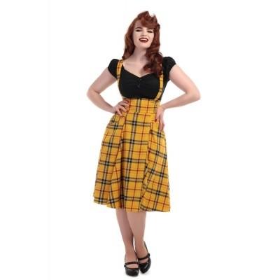 Foto van Rok pinafore Alexa, geel tartan swing model