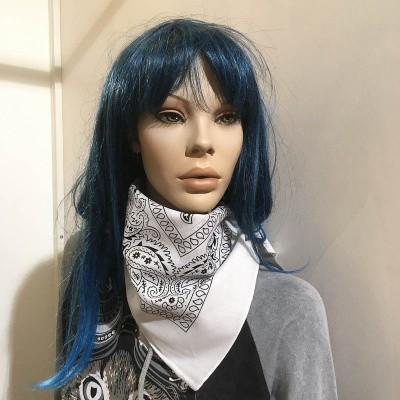 Foto van Bandana haarband en sjaal met paisley patroon, wit-zwart