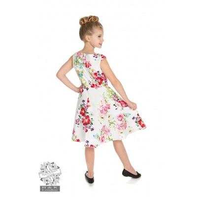 Foto van Kinderjurk, Rose Paradise Swing, wit met bloemen