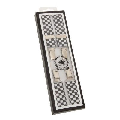 Bretels zwart wit check, breedte: 1.3 cm